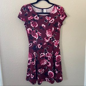 divided red floral dress